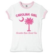 Carolina Girl Sweeter Than Sweet Tea Ringer T-Shirt